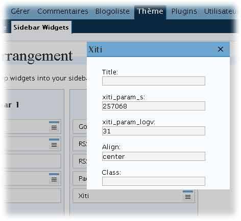 Configuration xiti widget