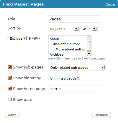 widget pages wordpress flexi